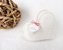 Pocket Hand Warmers VANILLA CREAM Heart Handwarmers Cashmere Heart Handwarmers by WormeWoole