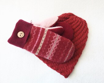 Beanie and Mitten Set POMEGRANATE FAIR ISLE Mitts and Slouchy Hat / Fleece Lined Sweater Mittens and Hat Gift Set Under 100 by WormeWoole