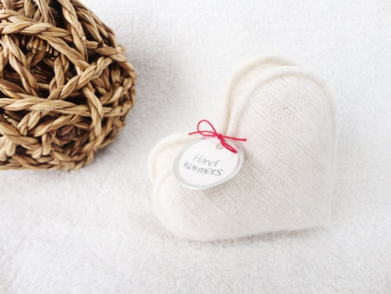 Pocket Hand Warmers VANILLA CREAM Heart Handwarmers Cashmere Sweetheart Gift White Hearts Unscented Warmers by WormeWoole