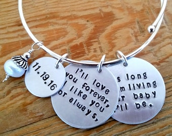 As long as I'm living my baby you'll be Bracelet - Mommy Bracelet - Mom Bangle - Charm Bracelet - Adjustable Bracelet - Mom Charm Bracelet