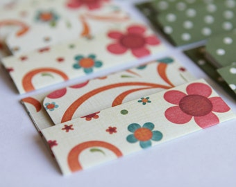 NEW - Mini Cards n Envelopes - Set of 8 - Pink, Orange and Blue Floral with Green Polka Dots