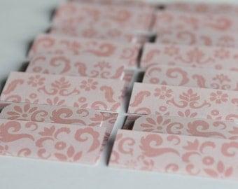 BUY 3 get 8 FREE- NEW - Mini Cards n Envelopes - Set of 8 - Pastel Pink Damask