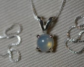 Opal Necklace, 0.33 Carat Genuine Solid Opal Solitaire Pendant On Sterling Silver Silver Necklace