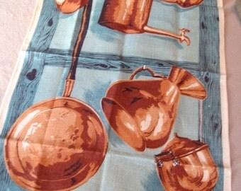 SALE15% Chester copperpot. Vtg Ulster linen kitchen towel, excellent condition.