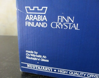 Two 1966 Oiva Toikka Flora glass bowls Oy Wärtsilä Ab Nuutajärvi / Scandinavian / Arabia Finland / 1960s / original box