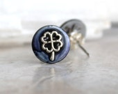 heather four leaf clover earrings, stud earrings, celtic jewelry, irish jewelry, mens jewelry, mens earrings, unique gift, womens gift
