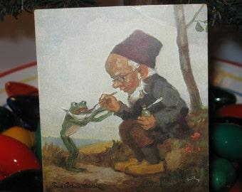 Vintage Paul Lothar Muller Der Doktor Postcard Elf Feeding Frog Medicine Collectible Adorable