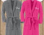 Monogram Microfleece Shawl Collar Robe, Monogram Robe, Fleece Robe, Mom and Dad Robe, Adult Robe