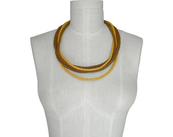 Braided Leather Necklace-Multistrand Necklace-Leather Necklaces for Women-Layered Necklace-Rope Necklace-Yellow necklace Tan leather choker