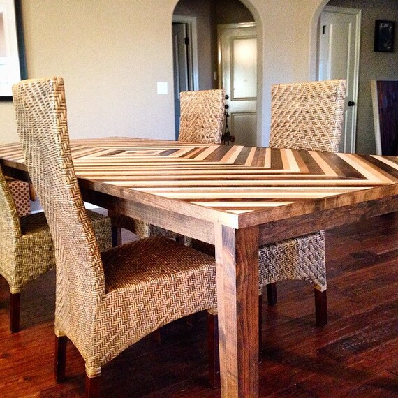 Items similar to dining room kitchen table chevron for Dining room tables etsy