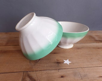 Vintage two french cafe au lait bowls  Green  Embossed details