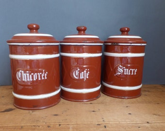 Old French ENAMEL canisters containers 1930  Enamelware