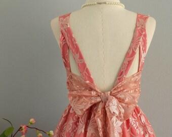 A Party V Backless Sparkle Pink Lace Dress Pink Lace Party Dress Cocktail Prom Dress Lace Bridesmaid Dress Pink Nude Lace Dresses XS-XL