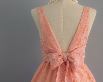 Party V Backless Dress Peach Pink Lace Dress Pink Lace Cocktail Dress Pink Prom Party Dress Bow Pink Lace Wedding Bridesmaid Dresses XS-XL