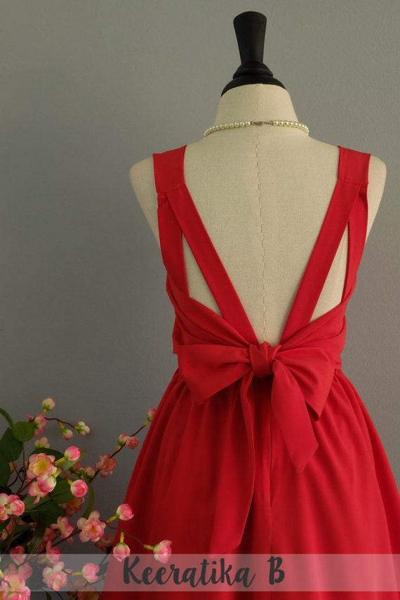 A Party V Backless Red Dress Red Bridesmaid Dresses Backless Dresses Red Cocktail Dress Prom Party Dresses Timeless Dress Custom Made