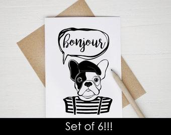 Bonjour Bulldog Greeting Card SET French Bulldog Card Hello Greeting Card Coffee Mug Graduation Card Eiffel Tower Christmas Teacher Gift