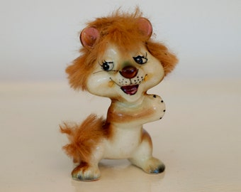 Cute Kitschy lion figure with fur and whiskers ceramic Japan mid century 50's 60's figurine