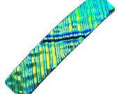 "Dichroic Barrette - 3.5"" / 9cm - Yellow Green Lime Gold Teal Verdigris Fused Glass Ripple Waves Textured Metallic Glass - Blue Reflections"