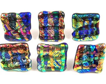 """Dichroic Knobs - Set of 5 - Cabinet or Drawer Pull Handle - Abstract Mosaic 1"""" / 25mm - Red Blue Gold Copper Green - Custom Made Fused Glass"""