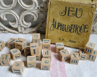 Vintage French blocks - alphabet wood blocks