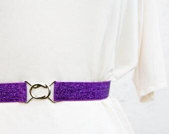 Sparkly purple cinch belt with interlocking clasp