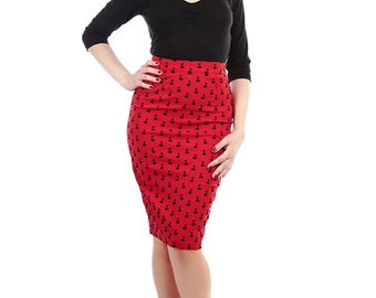 Brand New Vintage Retro Style Red Cherry Flock Pencil Skirt Rockabilly Pin Up
