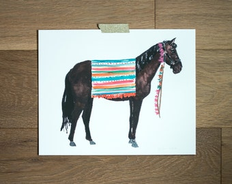 Horse print - horse painting - animal art