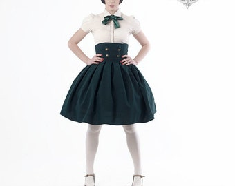 Full HIGH WAISTED SKIRT | military style gold silver buttons black navy blue dark green maroon burgundy red gray Lolita Steampunk plus size
