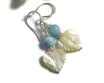 Larimar Earrings, Mother of Pearl, Sterling Silver, Blue Pectolite Earrings, Atlantis Stone, Dolphin Stone, Summer Earrings