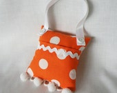 RESERVED Orange and White Polka Dot Tooth Fairy Pillow Toy