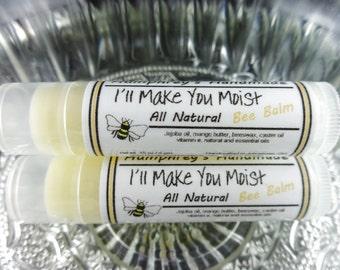 I'll MAKE YOU MOIST Lip Balm, Funny Peppermint Lemon Essential Oil Balm for Soft Lips Humphrey's Handmade All Natural Bee Balm, Jojoba Oil