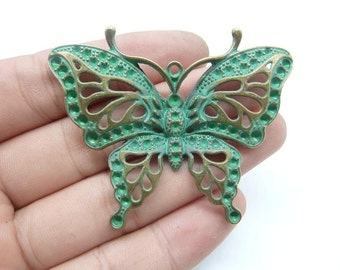 3pcs 48x60mm Butterfly  Rustic Charms, Bronze with Green Patina Butterfly  Rustic Patina Charms Pendant c8165