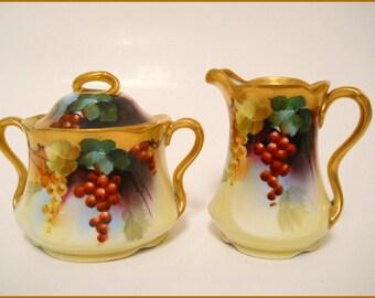 Antique PICKARD Bavaria Porcelain Creamer/Sugar Hand Painted Currants Artist Signed Vokral - August SALE