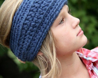 Chunky Knit Head Wrap Ear Warmer adjustable [Fond] Wool Blend Made to Order