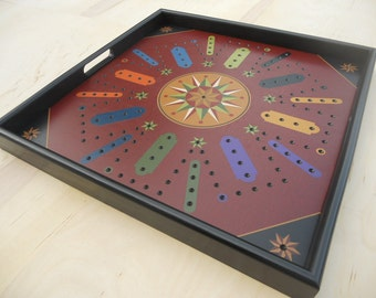 """Aggravation, Game Board, Tray Frame, 25"""" x 25"""", 8 Player, Aggravation, Game Boards, Hand Painted"""