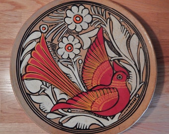 Vintage Hand Painted Mexican Folk Art Terracotta Platter/Plate