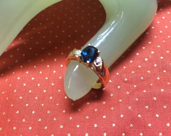 Vintage Goldtone Dark Blue & Clear Rhinestones Large Cocktail Ring Size 7
