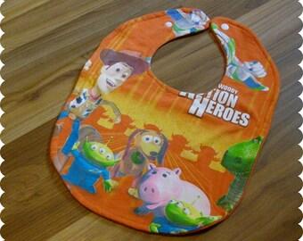 Woody Toy Story Baby Bib, Recycled T-Shirt Bib, Buzz Lightyear, Rex, Baby Shower Gift, New Baby Gift