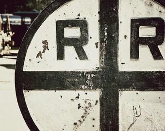 Railroad Crossing Sign, Children's Room Decor, Train Photo, Urban Photo Wall Decor
