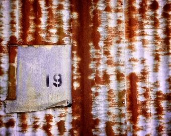 Grunge Art Photography, Number Photo, 19, Industrial Wall Decor