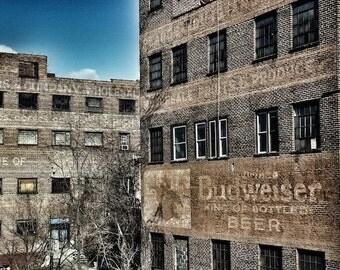 Budweiser Sign, Bar Wall Decor, Urban Industrial Wall Art, Asheville Photograph