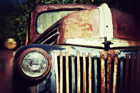 Old Truck Photograph, Old Ford Cottage Chic Photo, Men's Gifts, Truck Photography