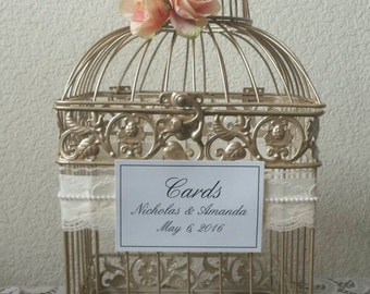 Lace and Pearls Champagne Bird Cage-Wedding card holder