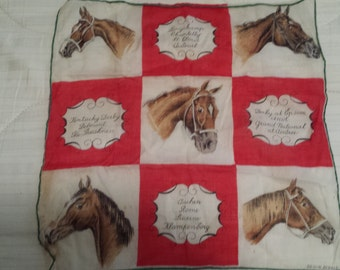 NICE Hanky w Horse Champions From around the World As Found VINTAGE