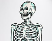 "Reserved for Kristen-Vintage Beistle Skeleton, Jointed 55"" Beistle Skeleton, 1960's Beistle Skeleton, Vintage Beistle Halloween Decor"