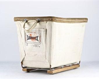 Canvas Laundry Cart, Vintage Canvas Laundry Cart, DanDux Laundry Cart, Industrial Decor, Industrial Canvas Cart, Old Cart, White Canvas Cart