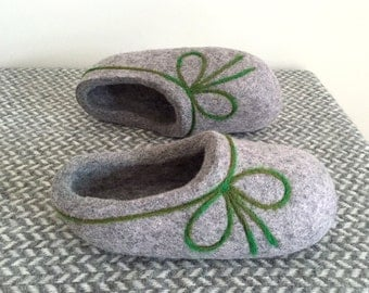 Hand made Felted Wool Slippers. Lighty Gray with  Green decor.  Made to order.
