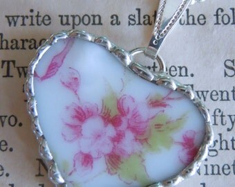 Fiona & The Fig Victorian-Pink Flowers - Antique-French Limoges Broken China Soldered Necklace Pendant Charm-Jewelry