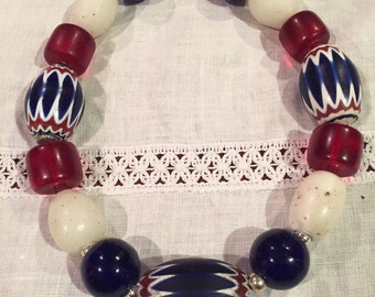 Tribal huge chevron beads, rare dogon African beads and Bohemian glass beads necklace
