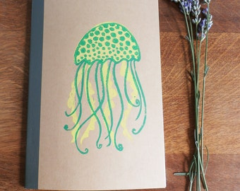 Jellyfish Notebook, MUJI, A5 Recycled Notebook, Lined, Hand Printed Linocut, Printmaking, Natural, lined notebook, notebook gift,